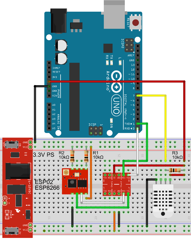 Esp8266 Wifi Module Connected To An Arduino Uno Board