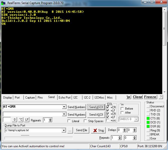 Sending 'Get Version' Command to ESP8266 Module