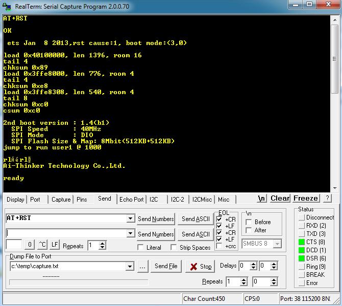 Sending Reset Command to ESP8266 Module