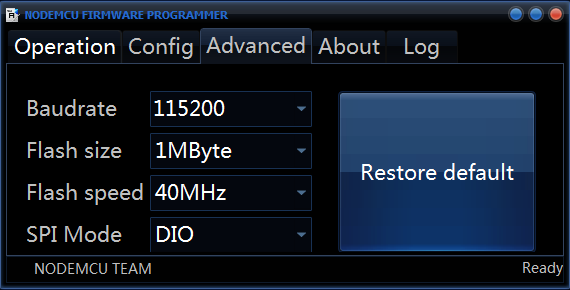 Select Flash Size and Baudrate for Firmware Update