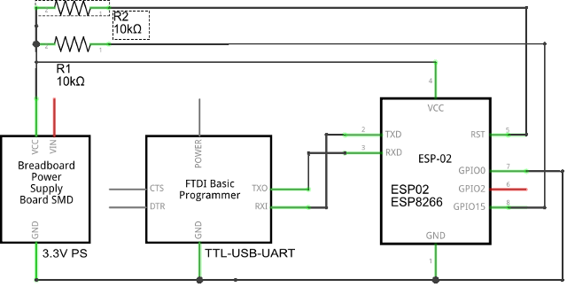 Schematics of ESP8266 PC USB Connection via TTL Module