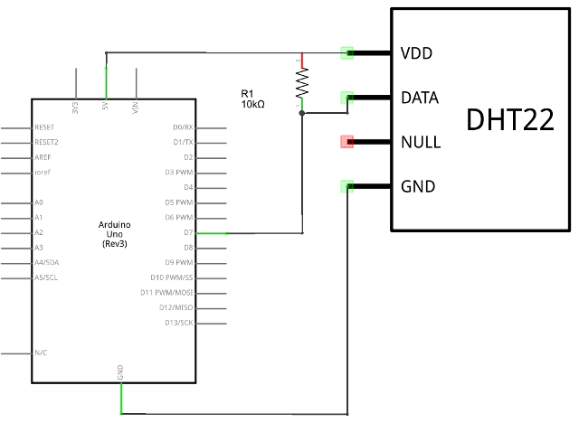 Circuit Diagram for a DHTxx Sensor Connected to an Arduino UNO Board