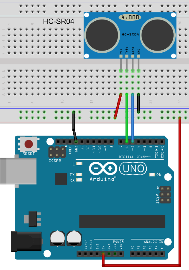 HC-SR04 Sensor Connected to an Arduino UNO Board