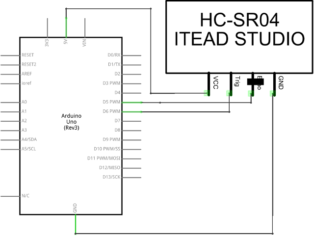 Circuit Diagram of a HC-SR04Sensor Connected to an Arduino UNO Board