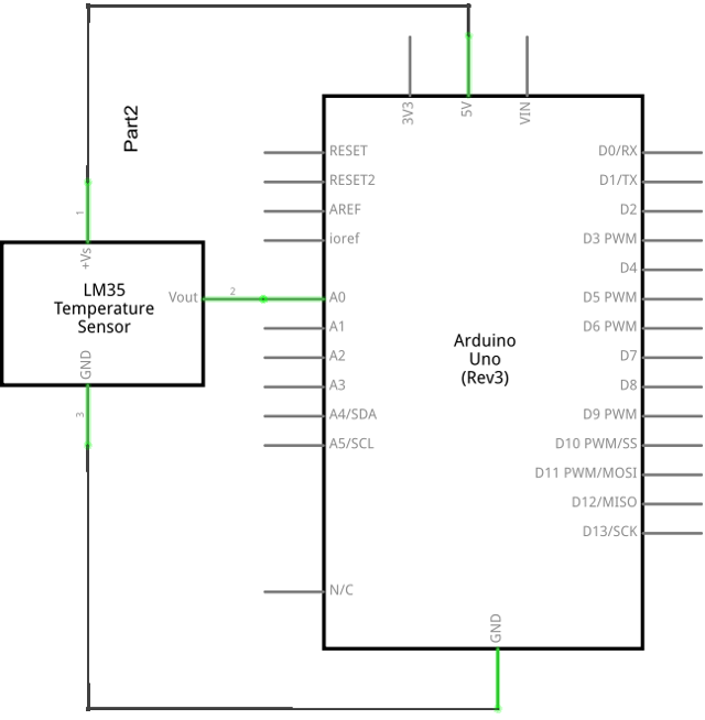 Circuit Diagram of a LM35 Sensor Connected to an Arduino UNO Board.