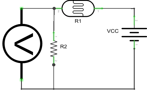 Circuit Diagram for Measuring Resistance Using a Voltmeter.