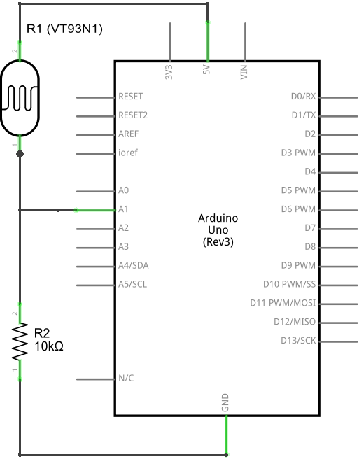 Circuit Diagram of a VT93N1 Sensor Connected to an Arduino UNO Board.