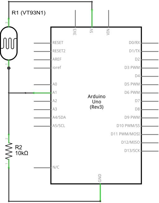 Circuit Diagram of a VT93N1 Sensor Connected to an Arduino UNO Board.