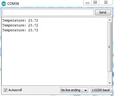 Serial Monitor Showing LM35DZ Sensor Readings