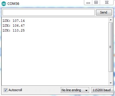 Serial Monitor Showing VT93N1 Sensor Readings.